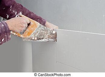 plâtre, main, découpage, sale, placoplâtre a vu