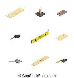 plâtrer, ensemble, illustration., outils, icônes, vecteur, 3d