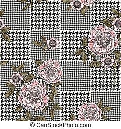pläd, mönster, seamless, bakgrund., vektor, blommig, template.