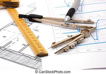 pläne, für, architektur