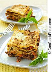 pläterar, av, lasagne