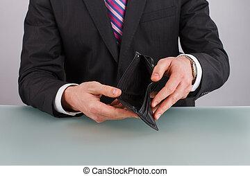plånbok., affär, tom, person, holdingen