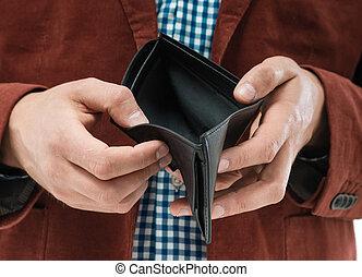 plånbok, holdingen, tom, man