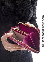 plånbok, kvinna räcka, tom