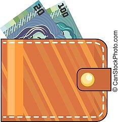 plånbok, med, pengar, brun, läder
