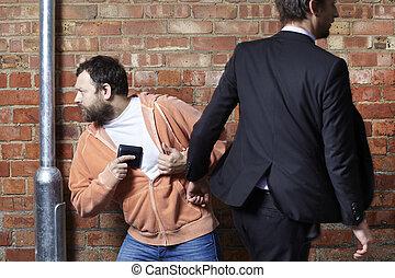 plånbok, pickpocketed, hans, man, har