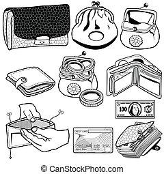 plånbok, svart, ikonen