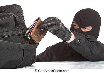 plånbok, tjuv, stöld
