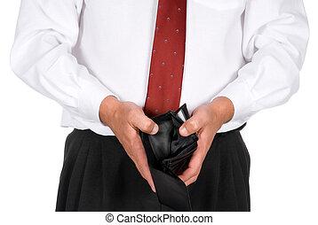 plånbok, tom, affärsman