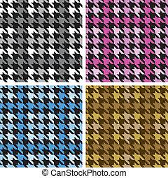 pléd, houndstooth, alatt, négy, colorways