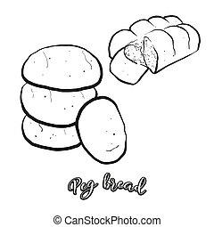 pløk, mad, hvid, skitse, bread, adskilte
