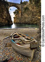 plaża, łódka, amalfi, fiord, furore, włochy, brzeg