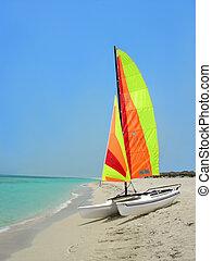 plaża, łódka