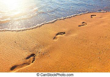 plaża, ślady, czas, zachód słońca, machać