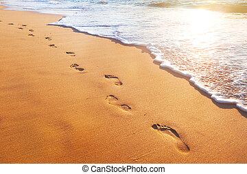 plaża, ślady, machać