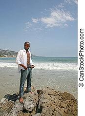plaża, amerykanka, człowiek, przystojny, afrykanin