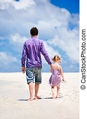 plaża, córka, ojciec
