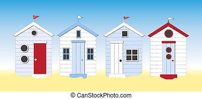 plaża, chaty
