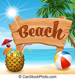 plaża, chorągiew
