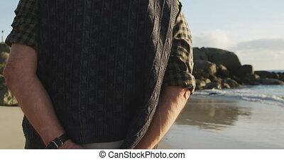 plaża, człowiek pieszy, prospekt, senior, tylny