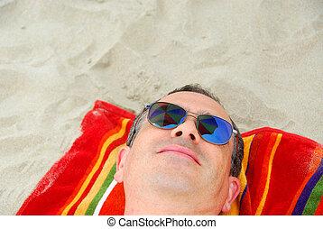 plaża, człowiek, sunglasses, rozluźnić
