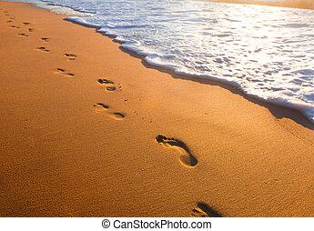 plaża, czas, zachód słońca, ślady, machać