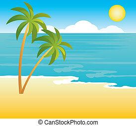 plaża, dłoń drzewa