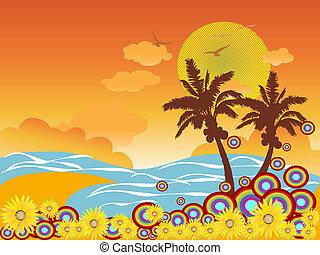 plaża, dłoń, urlop, drzewo