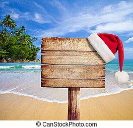 plaża., drewniany, szyld, santa, hat., boże narodzenie