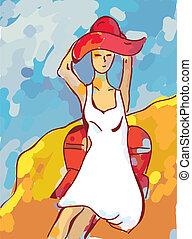 plaża, dziewczyna, malarstwo, morze