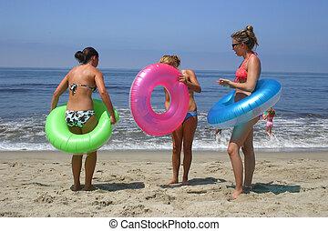 plaża, dziewczyny