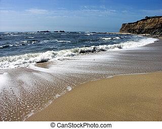 plaża, fale
