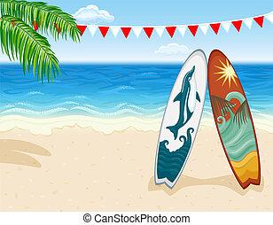 plaża, fale przybrzeżne, tropikalny