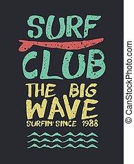 plaża, fale przybrzeżne, zacytować, klub, lato, tekst, retro