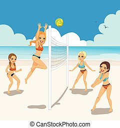 plaża, grając volleyball, kobiety