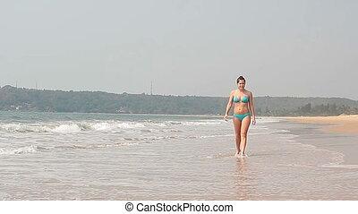 plaża, kobieta, goa, odprężając