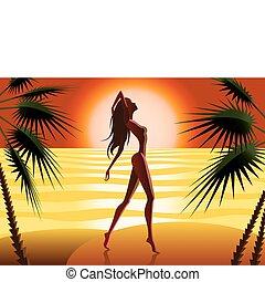 plaża, kobieta, sylwetka