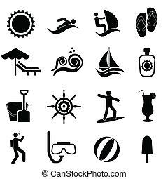 plaża, komplet, podróż, morski, lato, ikona