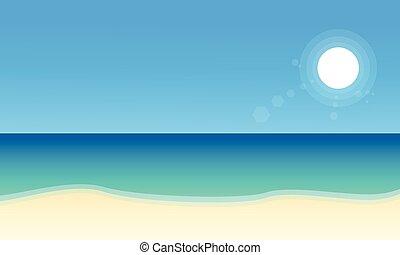 plaża, krajobraz, zbiór, pień