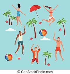 plaża, lato, ludzie