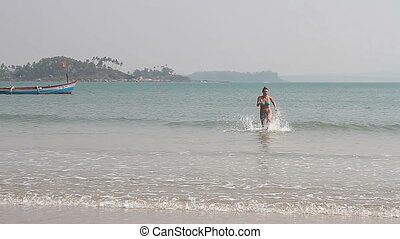 plaża, młody, samica, pływacki