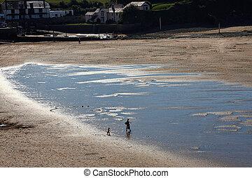 plaża, macierz, dziecko, sylwetka