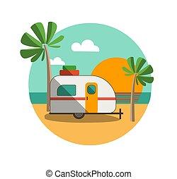 plaża, maruder, obozowicz, tropikalny, zachód słońca