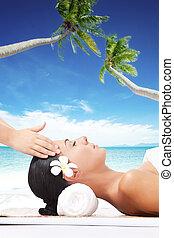 plaża, masaż