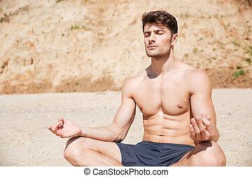 plaża, medytacja, pociągający, człowiek