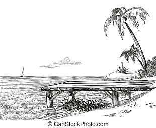 plaża, molo, morze, drewniany