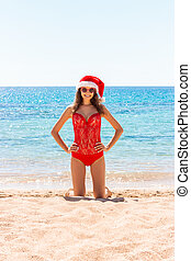 plaża., morze, urlop, święty, dziewczyna, święto, kapelusz, boże narodzenie
