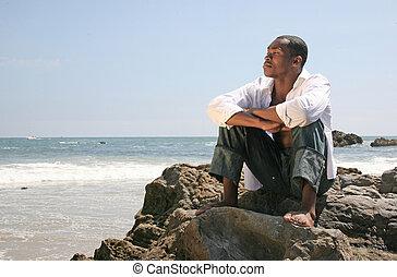 plaża, myślenie, amerykanka, człowiek, przystojny, afrykanin