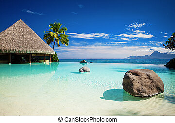 plaża, nieskończoność, kałuża, sztuczny, ocean