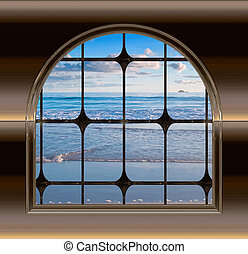 plaża, okno, przez